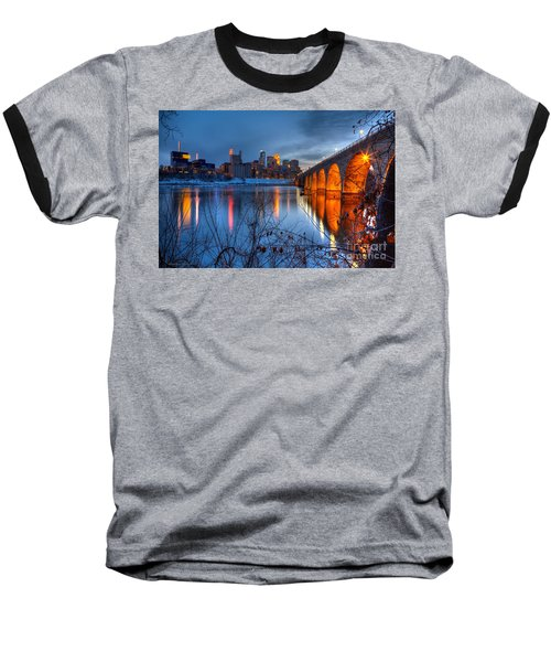 Minneapolis Skyline Images Stone Arch Bridge Spring Evening Baseball T-Shirt