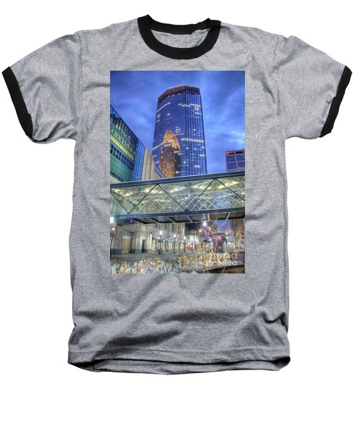 Minneapolis Skyline Photography Nicollet Mall Winter Evening Baseball T-Shirt