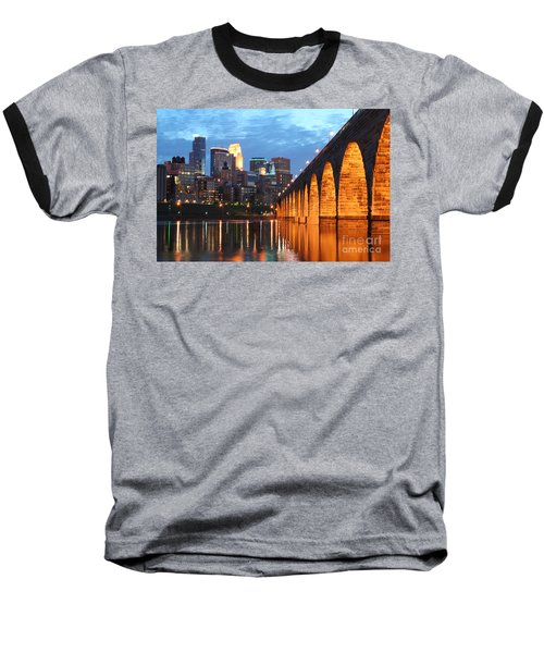 Minneapolis Skyline Photography Stone Arch Bridge Baseball T-Shirt