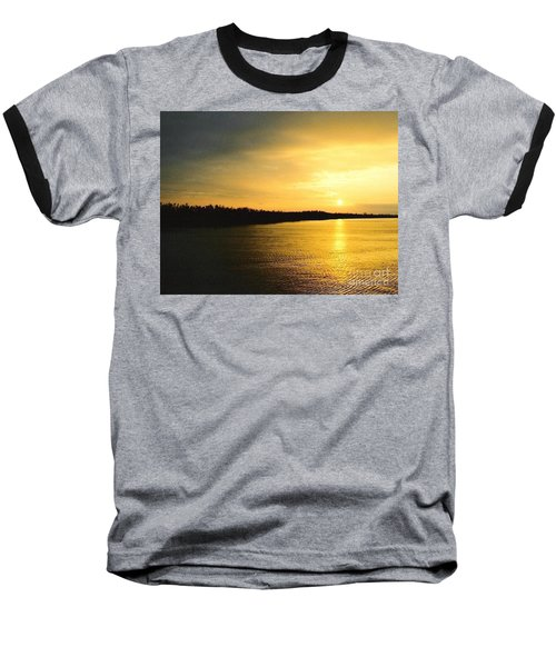 Baseball T-Shirt featuring the photograph Sunrise Over The Mississippi River Post Hurricane Katrina Chalmette Louisiana Usa by Michael Hoard