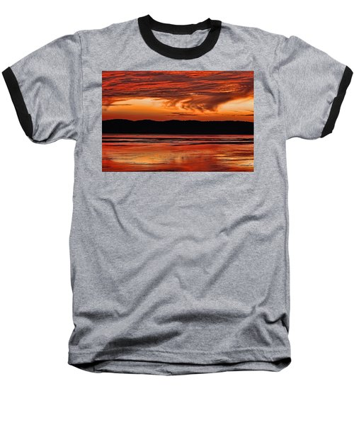 Baseball T-Shirt featuring the photograph Mississippi River Sunset by Don Schwartz