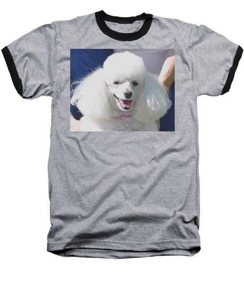 Missy White Poodle Baseball T-Shirt