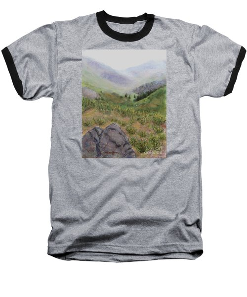 Mist In The Glen Baseball T-Shirt by Laurie Morgan