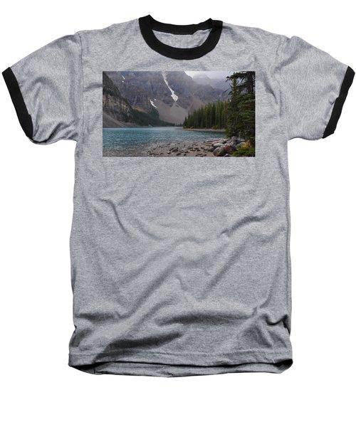 Mist Over Lake Moraine Baseball T-Shirt by Cheryl Miller