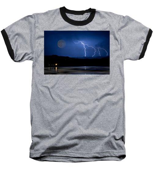 Misty Lake Full Moon Lightning Storm Fine Art Photo Baseball T-Shirt