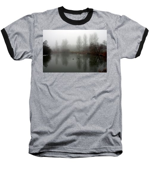 Misty Lake Reflections Baseball T-Shirt