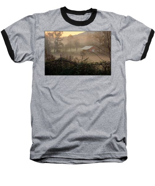Misty Morn And Horse Baseball T-Shirt by Kathy Barney