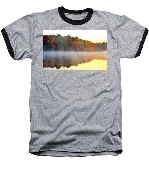 Misty Morning At Stoneledge Lake Baseball T-Shirt by Terri Gostola
