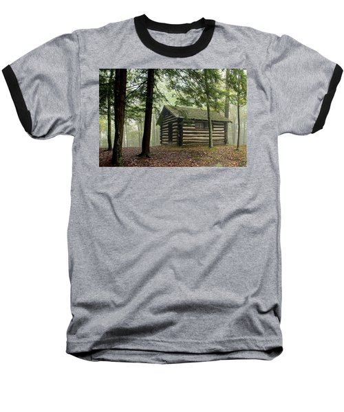 Misty Morning Cabin Baseball T-Shirt by Suzanne Stout