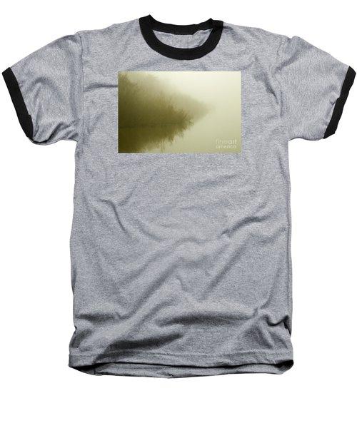 Misty Morning Reflection. Baseball T-Shirt