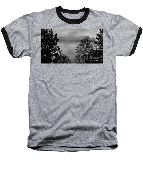 Misty Morning Sunrise Black And White Art Prints Baseball T-Shirt by Valerie Garner