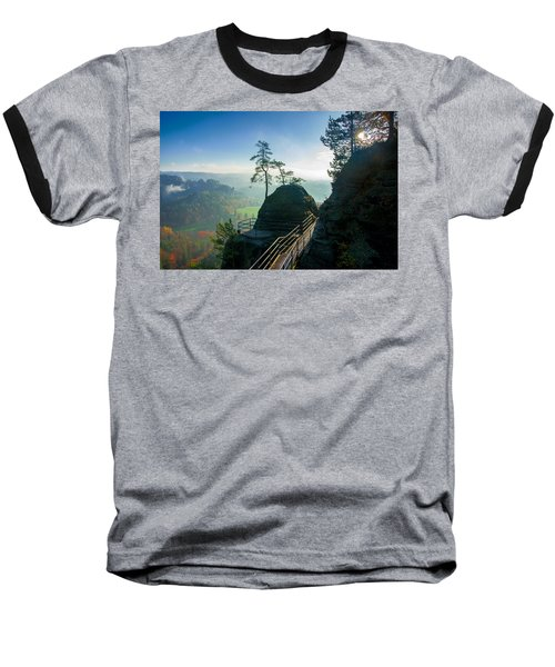 Misty Sunrise On Neurathen Castle Baseball T-Shirt