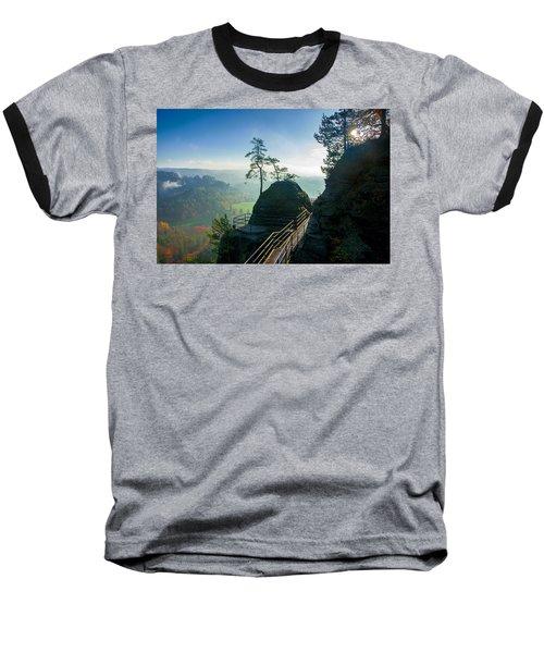 Misty Sunrise On Neurathen Castle Baseball T-Shirt