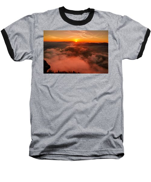 Misty Sunrise On The Lilienstein Baseball T-Shirt