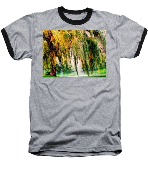 Misty Weeping Willow Tree Dreams Baseball T-Shirt by Carol F Austin
