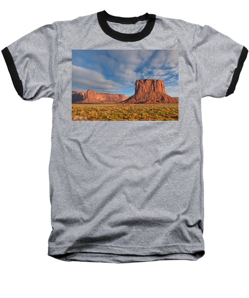 Baseball T-Shirt featuring the photograph Mitchell Butte And Gray Whiskers In The Evening Light by Jeff Goulden