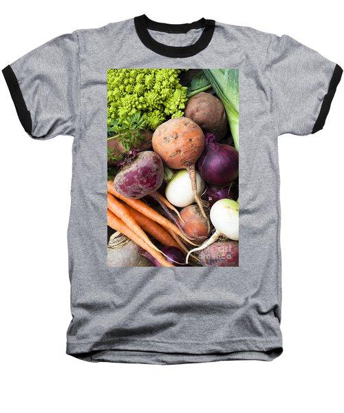Mixed Veg Baseball T-Shirt by Anne Gilbert