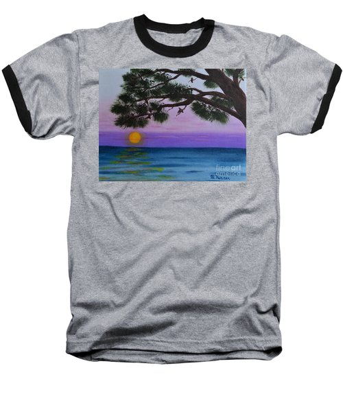 Mobile Bay Sunset Baseball T-Shirt by Melvin Turner