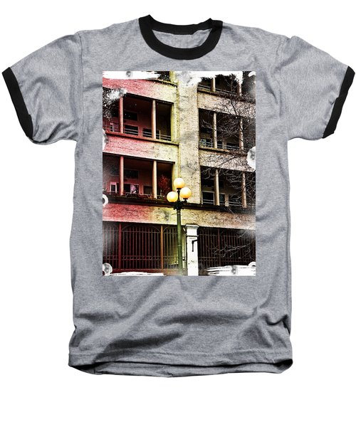 Modern Grungy City Building  Baseball T-Shirt by Valerie Garner