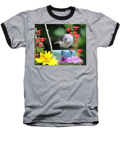 Mockingbird And Teacup Photo Baseball T-Shirt