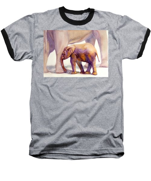 Mom And Baby Boy Elephants Baseball T-Shirt