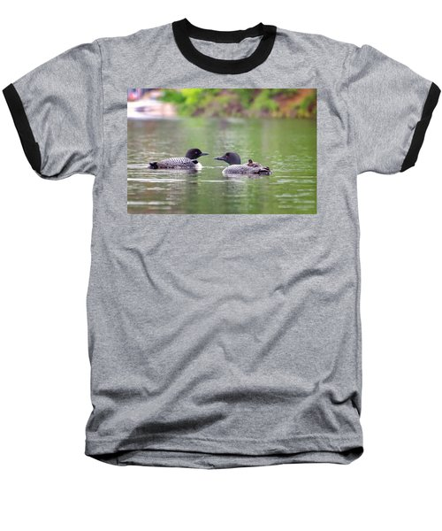 Mom And Dad Loon With Baby On Back Baseball T-Shirt