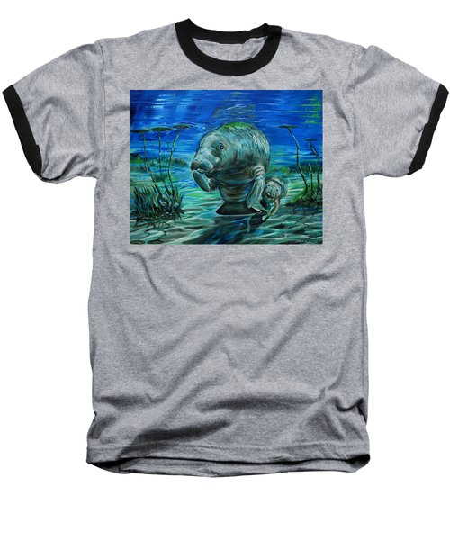 Momma Manatee Baseball T-Shirt