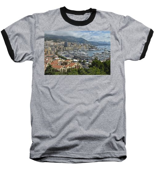 Baseball T-Shirt featuring the photograph Monaco Harbor by Allen Sheffield