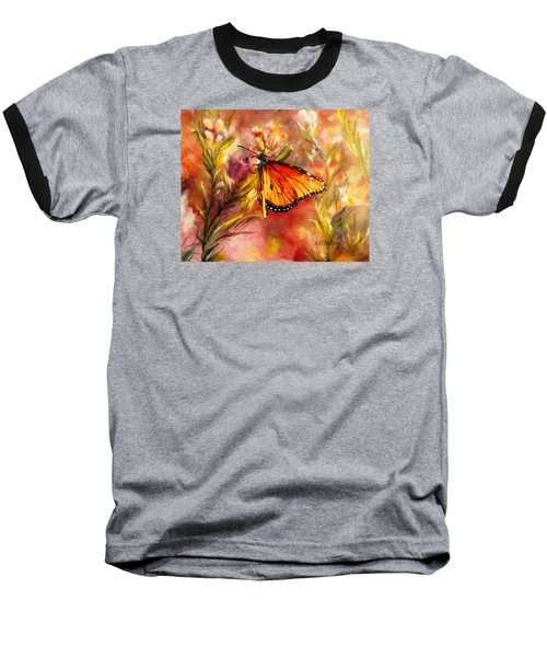 Baseball T-Shirt featuring the painting Monarch Beauty by Karen Kennedy Chatham