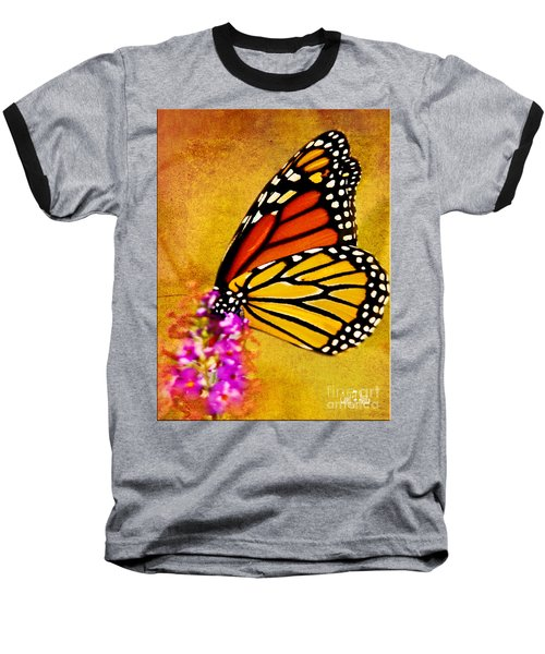 Monarch Butterfly Color Splash Sunset Baseball T-Shirt