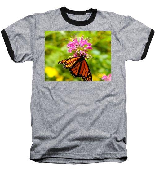 Monarch Under Flower Baseball T-Shirt