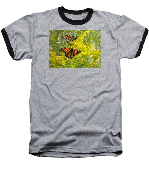 Monarchs On Goldenrod Baseball T-Shirt by Susan  Dimitrakopoulos