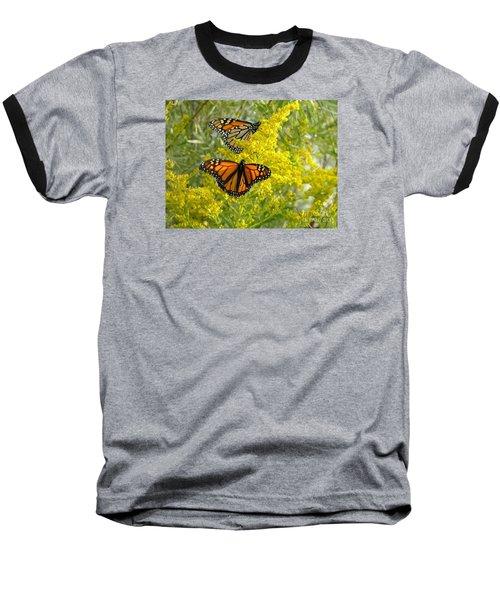 Monarchs On Goldenrod Baseball T-Shirt