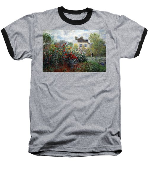 Baseball T-Shirt featuring the photograph Monet's The Artist's Garden In Argenteuil  -- A Corner Of The Garden With Dahlias by Cora Wandel