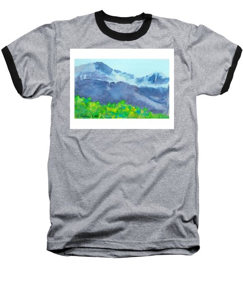 Baseball T-Shirt featuring the painting Montana Mountain Mist by C Sitton