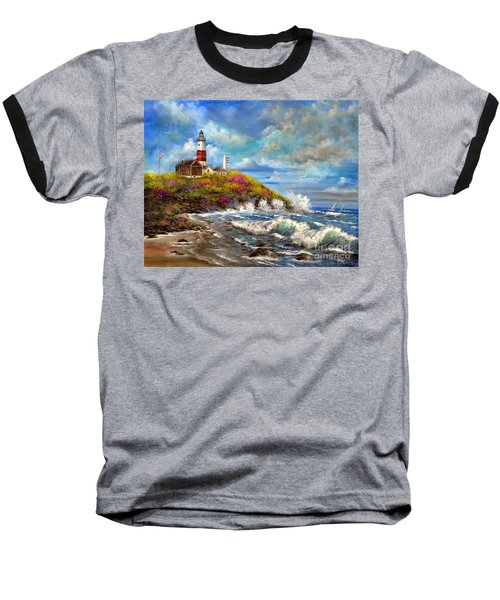 Montauk Lighthouse Baseball T-Shirt