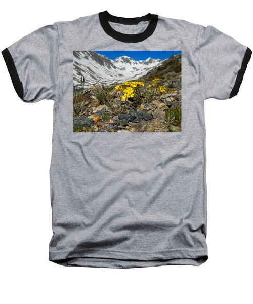 Blue Lakes Colorado Wildflowers Baseball T-Shirt