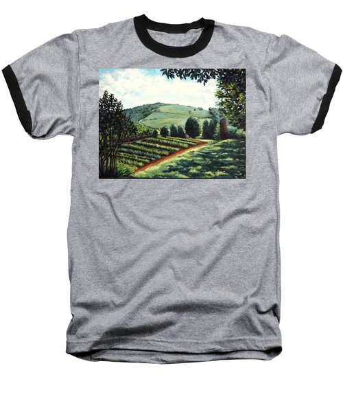 Baseball T-Shirt featuring the painting Monticello Vegetable Garden by Penny Birch-Williams