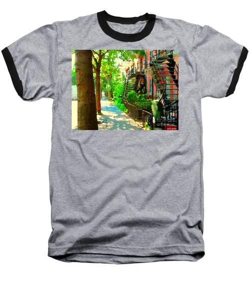 Montreal Art Colorful Winding Staircase Scenes Tree Lined Streets Of Verdun Art By Carole Spandau Baseball T-Shirt