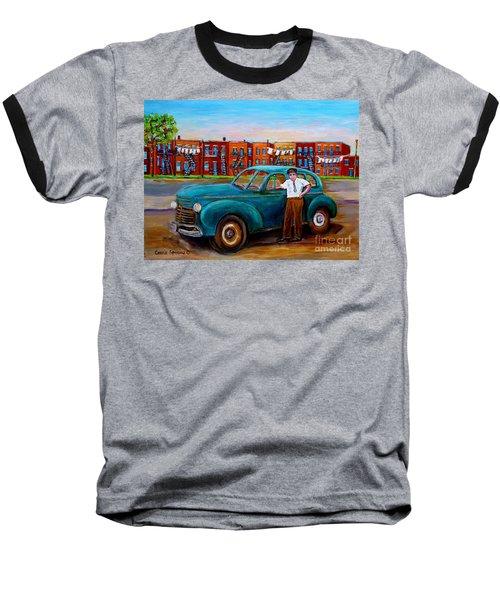 Montreal Taxi Driver 1940 Cab Vintage Car Montreal Memories Row Houses City Scenes Carole Spandau Baseball T-Shirt by Carole Spandau