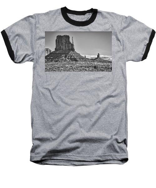 Baseball T-Shirt featuring the photograph Monument Valley 3 Bw by Ron White