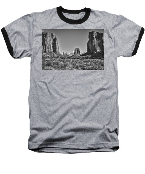 Baseball T-Shirt featuring the photograph Monument Valley 8 Bw by Ron White