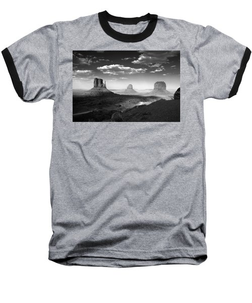Monument Valley In Black And White Baseball T-Shirt