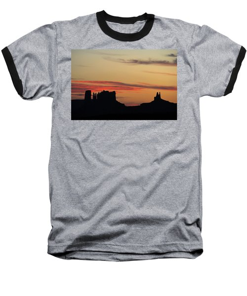 Baseball T-Shirt featuring the photograph Monument Valley Sunset 1 by Jeff Brunton