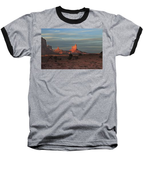 Baseball T-Shirt featuring the photograph Monument Valley Sunset by Alan Vance Ley