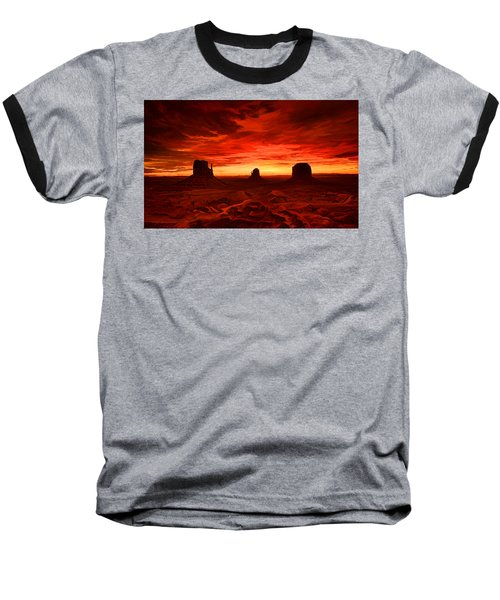 Baseball T-Shirt featuring the painting Monument Valley Sunset by Tim Gilliland