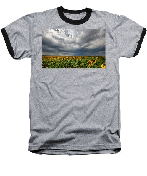 Moody Skies Over The Sunflower Fields Baseball T-Shirt