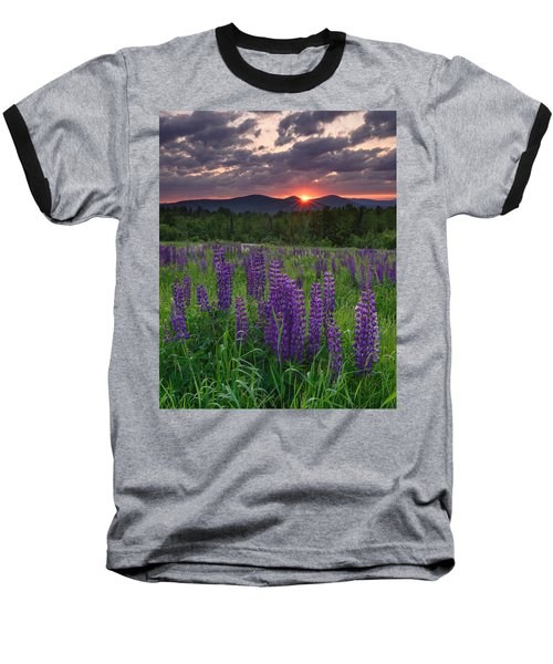 Moody Sunrise Over Lupine Field Baseball T-Shirt