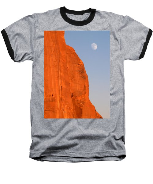 Baseball T-Shirt featuring the photograph Moon At Monument Valley by Jeff Brunton