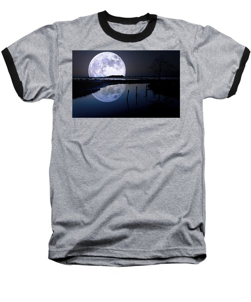 Moon At Night Baseball T-Shirt